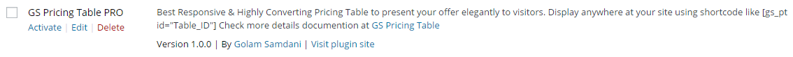 Activate GS Pricing Table